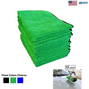 Car Wash Microfiber Towel Auto Cleaning Drying Cloth Hemming Super Absorbent 12P