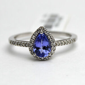 Genuine Pear Cut Blue Tanzanite & Diamond Halo Engagement Ring 10k White Gold