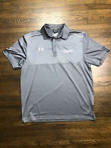 Under Armour Men's Polo Shirt Heat Gear Solid Gray Large Loose Fit sz Medium M