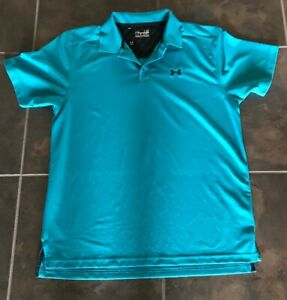 Men's Under Armour Heat Gear Polo Shirt L Loose Solid Teal Blue Cool SS Golf