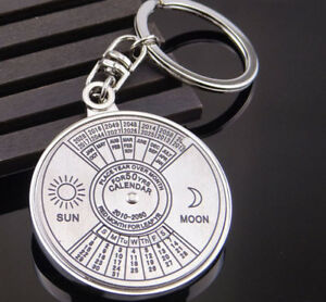 Creative Perpetual Calendar Keyring Keychain Metal Key Chain Ring 50 Years New