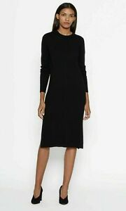 Equipment Snyder Cashmere Crew Neck Long Sleeve Sweater Midi Black Dress - XS