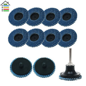 11pc 2 inch Flat Flap Disc Roloc Roll Lock Grinding Sanding Wheels with holder