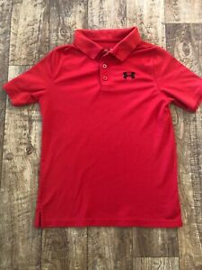 Boys Red Polo Under Armour Shirt Youth X Large