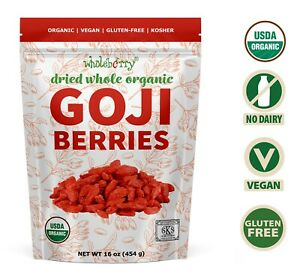 Organic Dried Goji Berries Superfood Raw Vegan Wolfberries by Wholeberry