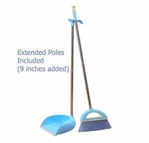 Extended Poles Stainless Steel Long Handle Broom and Strong Plastic Dust Pan 48