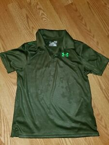 UNDER ARMOUR GREEN POLO SHIRT SCHOOL PICTURES TIME BOYS YOUTH LARGE YLG