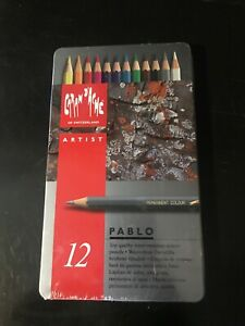 Caran d'Ache PABLO artist quality Coloured Drawing pencil SET - Metal Tin of 12