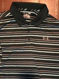 UNDER ARMOUR GOLF POLO SHIRT Large GRAY Teal STRIPE- STRETCH -HEAT GEAR