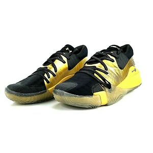 Under Armour Mens 9.5 Anatomix Spawn Black Gold Basketball Shoes New Free Ship