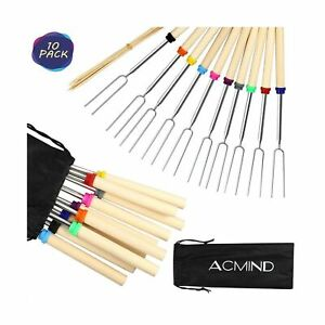 Acmind Marshmallow Roasting Sticks 32 Inch,10 Bamboo Skewers,Kids Camping Acc...