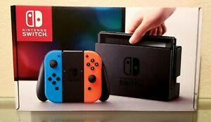 Nintendo Switch Gray Console with Neon Red and Neon Blue Joy-Con w Accessories