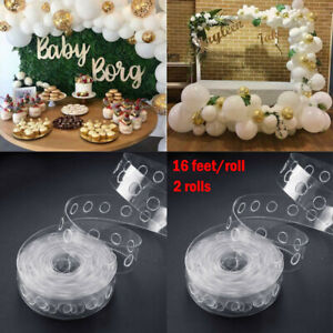 2 Rolls Balloon Chain Decorating Arch Tape Connect Strip Wedding Birthday Party