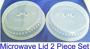 Plastic Microwave Plate Cover Clear Steam Vent Splatter Lid 10.25 Set Of 2 New