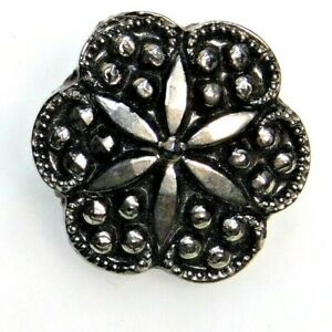 Antique Vtg BUTTON Realistic Black Glass Flower w Silver Luster O