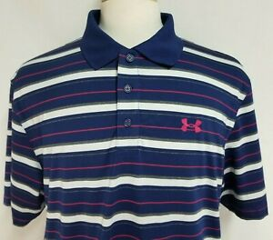 Under Armour Mens sz L Blue Pink Striped Polyester Short Sleeve Golf Polo Shirt $28.99