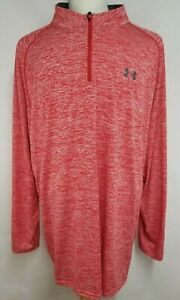 Under Armour Mens sz 4XLT Heather Red 14 Zip Long Sleeve Polyester Shirt