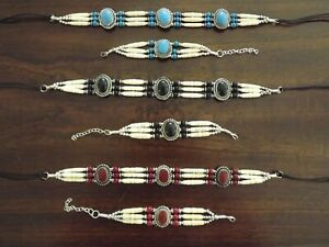 Native American Tribal Agate Buffalo Bone Hair Pipe Choker Necklace Bracelet Set