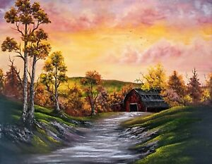 Original Signed Oil Sunset Barn Painting 24x30 Canvas Bob Ross Style $195.00