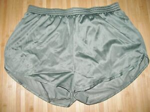 SOFFE Running Shorts XL Silky Nylon Military OLIVE GREEN with Matching LINER