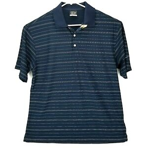 Nike Golf Mens L Polo Shirt Dri Fit Dry Blue Wesco Embroidered Striped Large