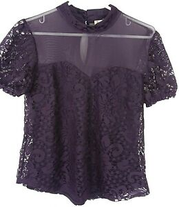 LILY WHITE Anthropologie Eggplant Purple Lace Cap Sleeves Blouse Size M B1 PP $8.99