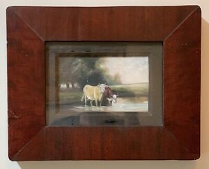 ANTIQUE 19th CENTURY AMERICAN FOLK ART OIL PAINTING COWS at the WATERHOLE