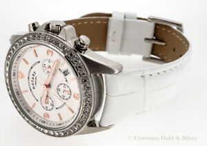ROTARY WHITE CHRONOGRAPH DIAL ROSE GOLD MARKERS LADIES WATCH