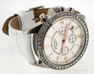 ROTARY 34MM WHITE CHRONOGRAPH DIAL LEATHER BAND LADIES WATCH LS00147/41S
