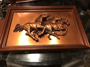 Vintage Copper 3-D Relief Horses Wall Decor Plaque Sculpture framed in Wood