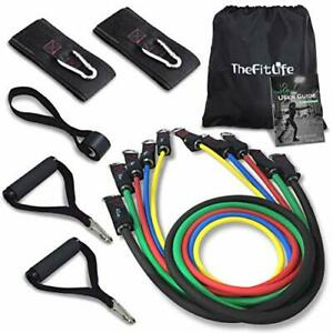 TheFitLife Exercise Resistance Bands with Handles - 5 Fitness Workout (110 LBS)