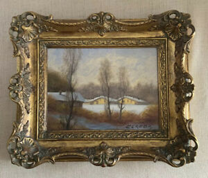 ORIGINAL quot;LANDSCAPEquot; SIGNED Framed Wooden Victorian Painting BY CEREDA ITALY $675.00