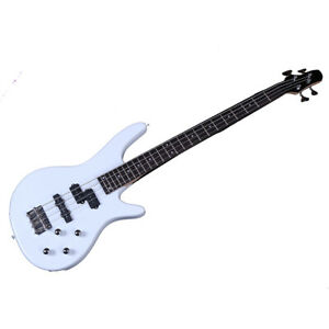 New 34quot; Basswood 24 Frets Right Handed 4 Strings Electric Bass Guitar White