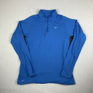 Nike Mens Fit Dry Running 1 4 Zip Blue Fitted Pullover Long Sleeve Shirt Large $25.00