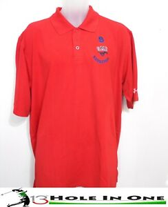 Under Armour Men's Golf Shirt Short Sleeve Size L Red Nice Polyester *SMU* $10.99