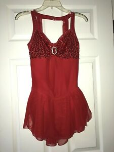 Red Sharene Ice Skating Dress wRhinestones Size Ladies Medium