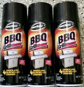 3 X BARBECUE BBQ GRILL CLEANER SPRAY GREASE DISSOLVES BURNED-ON 12 oz Each