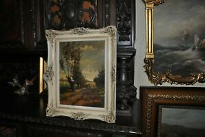 Lovely  Peaceful Antique Painting  Landscape with Girl and cow by Artist Fertze