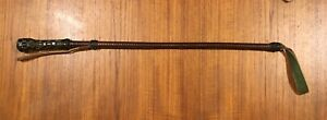 """Antique Hand Woven Leather Signed """"G"""" Horse Riding Crop Equestrian Tack Whip"""