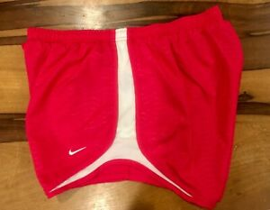 Nike Dri Fit womens pink white athletic tempo lined running shorts size large