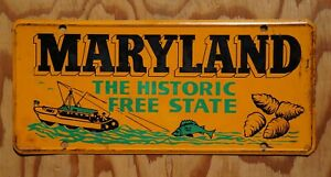 Vintage 1950's Historic MARYLAND State Name Front License Plate Fish Boat Crab