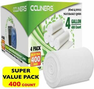 CCLINERS 4 Gallon Clear Small Garbage Bags bathroom Trash Bags 400 Count