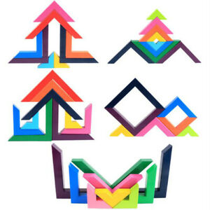 Gradient Wooden Building Blocks Multicolored Right Angle Art Visual Game $28.99