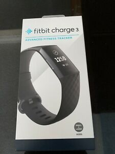 New-in-Box Fitbit Charge 3 Fitness Tracker - BlackGraphite Aluminum (FB409GMBK)