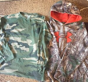 Boys XL Youth Under Armour Camo Hoodie and Old Navy Camo thermal (XL- 14-16)