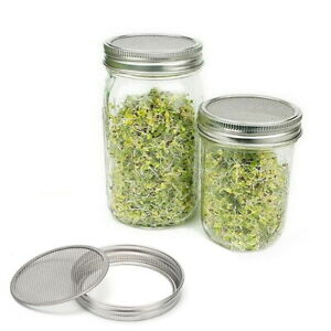 Organic Seeds Jars Stainless Steel Mason Mouth Fit Sprouting Jar Lid Kit Wide