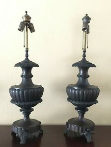 Pair Of Antique Solid Bronze Urn Shaped Lamps W Ornate Floral Design 34Lbs