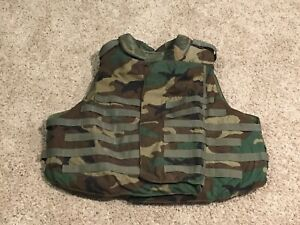 Woodland IBA Vest With Frag Soft Armor Large Airsoft Paintball Military Surplus