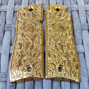 Custom Colt mustang 380 Scroll Grips with Rampant Colt Medallions Gold Plated