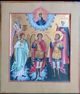 ANTIQUE 1860s HAND PAINTED RUSSIAN ICON OF ST.MIHAIL amp; GUARDIAN ANGEL amp;SAINTS $5500.00